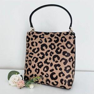 NWT Kate Spade Purse Darcy Graphic Leopard Small Bucket Bag Crossbody